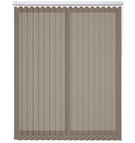 A light brown vertical blind in a bathroom