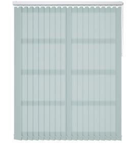 A soft duckegg blue vertical blind in a bathroom